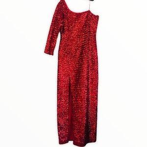 Vintage Flo Kerr red sequin dress 16 one shoulder
